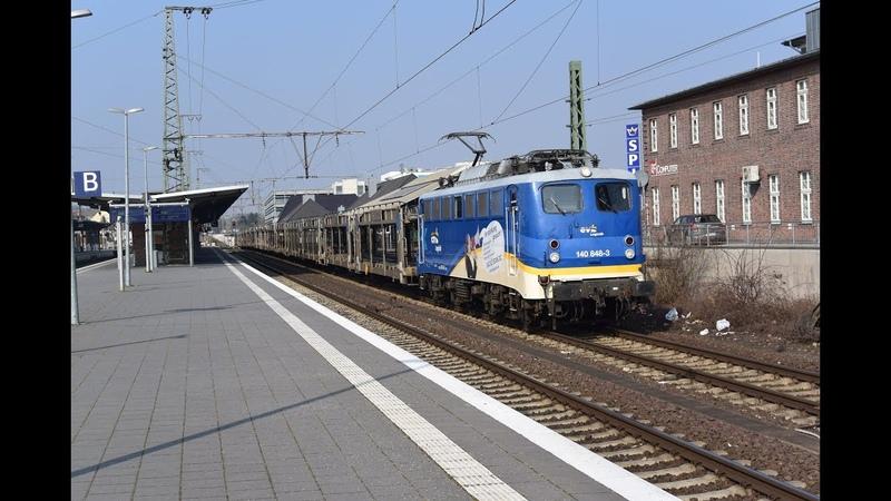 EVB logistik 140 848-3 komt met lege BLG autotrein aan in Rheine