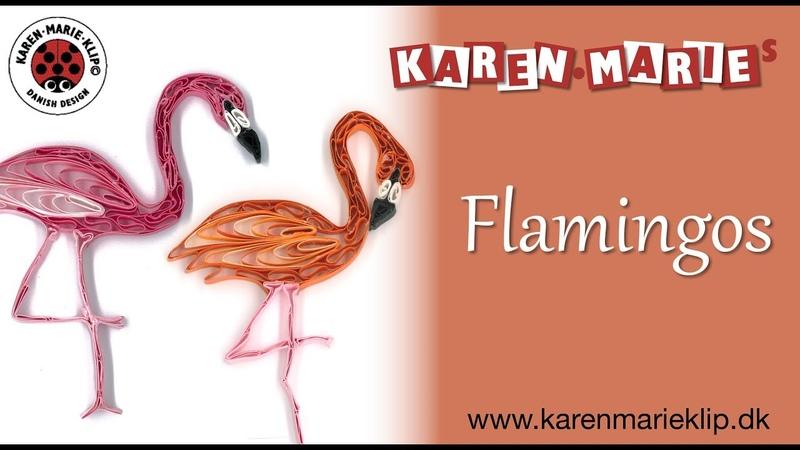 Quilling Paper Flamingos - Karen Marie Klip Papir