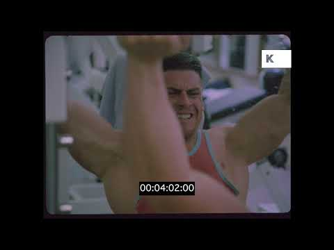1980s Venice Beach Gym, Bodybuilder Workout, Exercise, 35mm