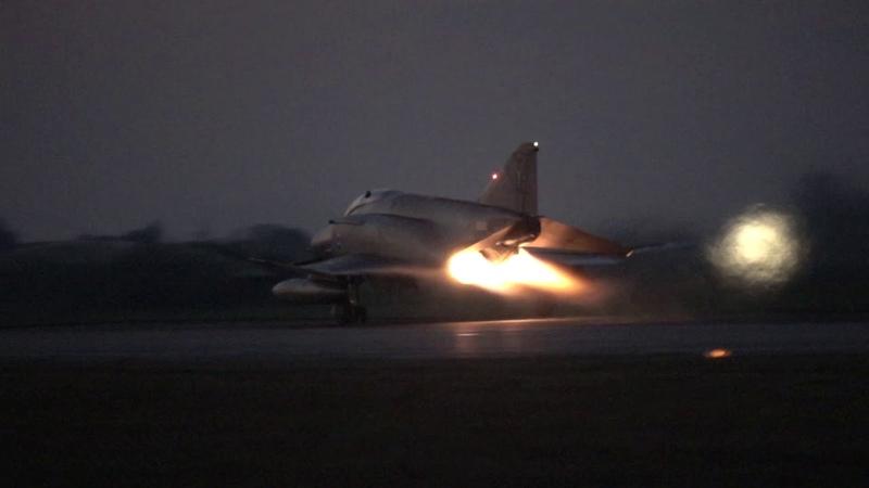 HAF F-4 AUP Phantom II night takeoffs (afterburner) and landings