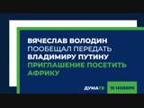 Вячеслав Володин пообещал передать Владимиру Путину приглашение посетить Африку