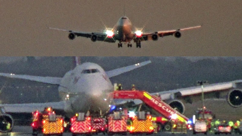 Emergency Landing Gatwick Airport Virgin Atlantic Boeing 747 G VROM Barbarella
