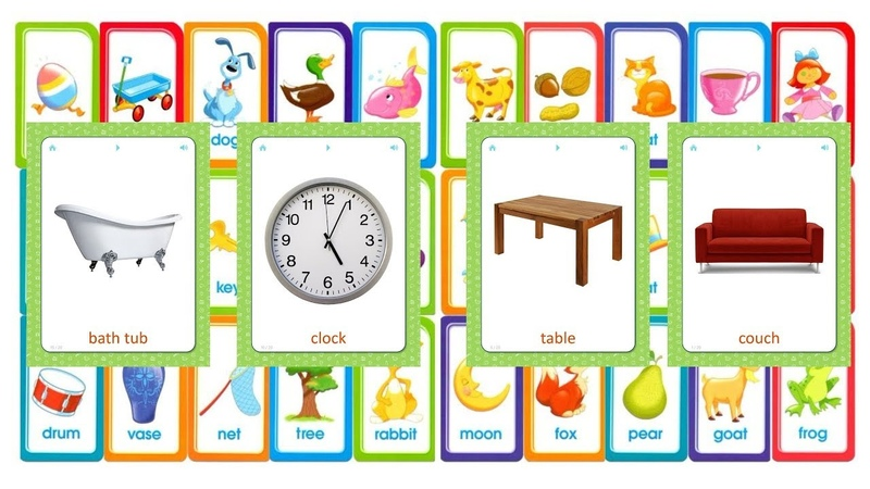 Flashcards for kids - Furniture and Household items - learn words in English.