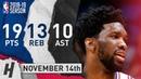 Joel Embiid Triple-Double Full Highlights 76ers vs Magic 2018.11.14 - 19 Pts, 10 Ast, 13 Rebounds!