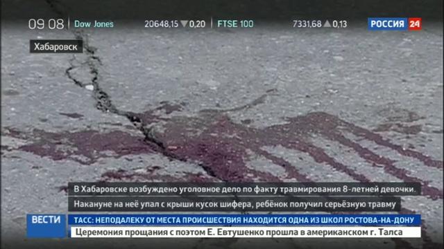 Новости на Россия 24 • В Хабаровске упавший кусок крыши пробил голову ребенку