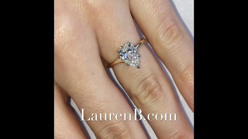 1.60 ct Two-Tone Pear Shape Diamond Engagement Ring
