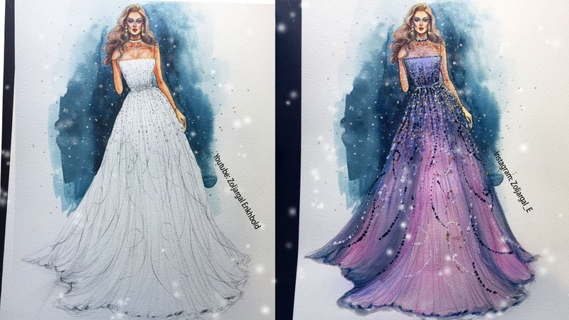 Fashion Sketch - Gown Speed Painting - Watercolor and Pencils ( beginners level )