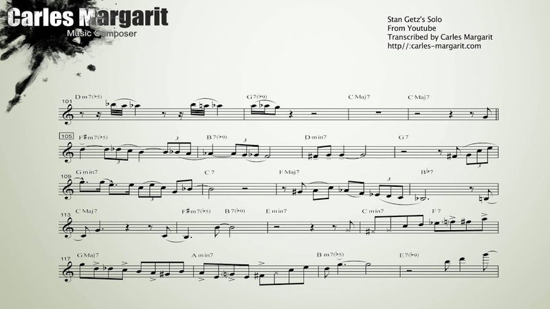 Stella by Starlight, Stan Getzs (Bb) Transcription. Transcribed by Carles Margarit