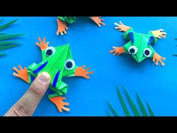Hüpfenden Origami Frosch basteln mit Papier 🐸 Lustiges DIY Geschenk - Bastelideen