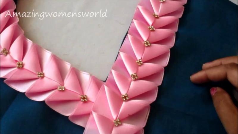 Beautiful Neck Sleeves Design for Churidar / Kurt - Easy Ribbon Work Lace Making at home