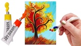 Easy Fall Tree step by step acrylic with the Q-tip method
