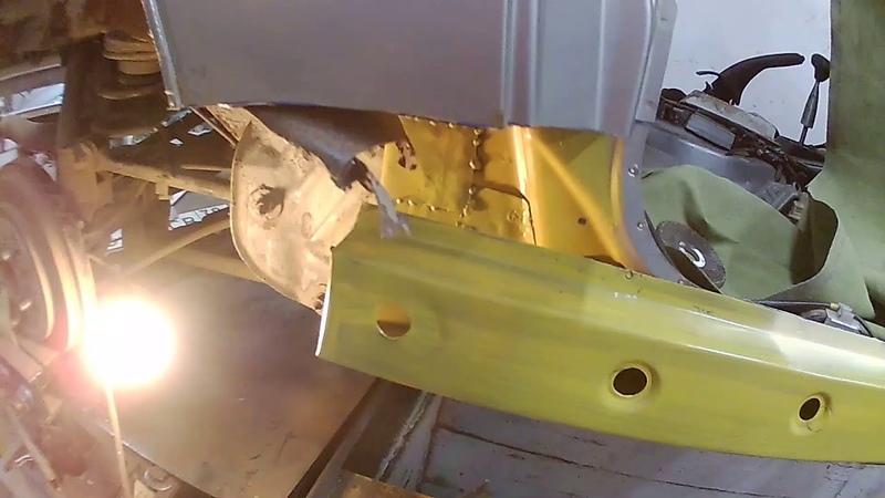 изготовление углублений под сливные отверстия и изготовление нового порога Паджеро iO