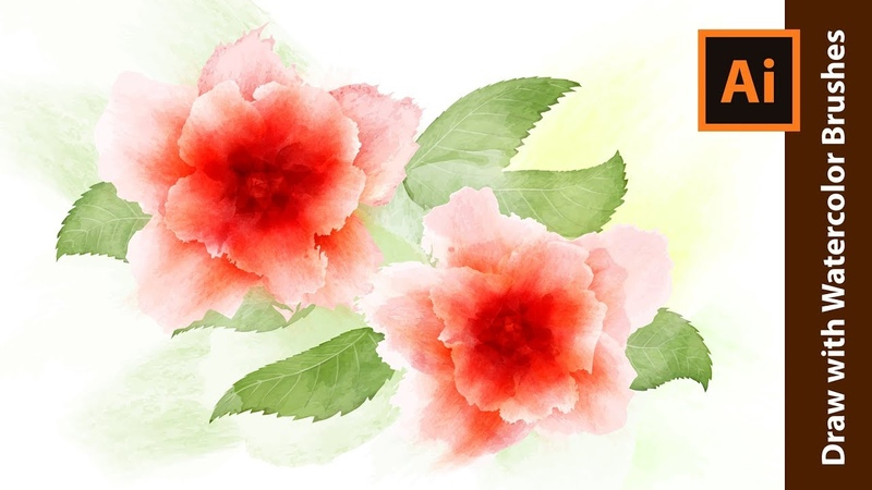 How to Draw Red Flowers with Watercolor Brushes - Adobe Illustrator Tutorial