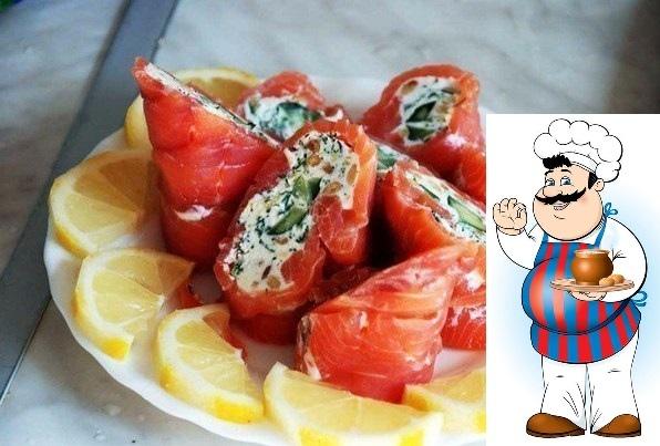 вкусная закуска ингредиенты: красная рыба огурцы лимон приготовление: просто пародия на суши. пародия понравилась, оказавшись на удивление симпатично-приятно-вкусной. основа для рулетиков