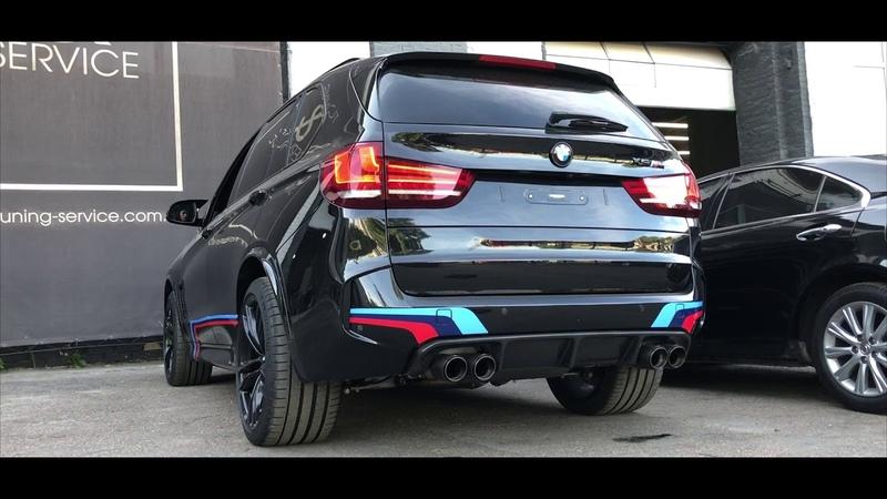 Звук выхлопа Akrapovic на BMW X5 установка регулируемых выхлопных систем в Киеве