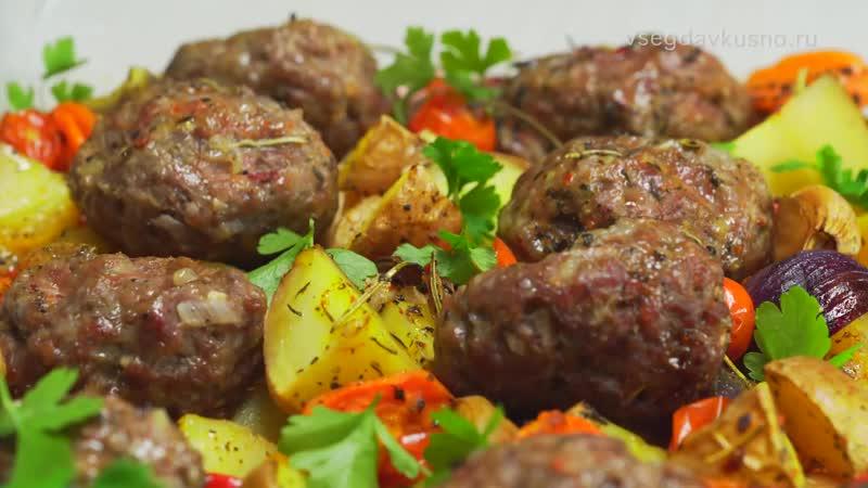 Мясные котлеты запеченные с овощами в духовке.