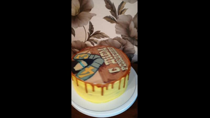 Торт с фотопечатью ко дню рождения)