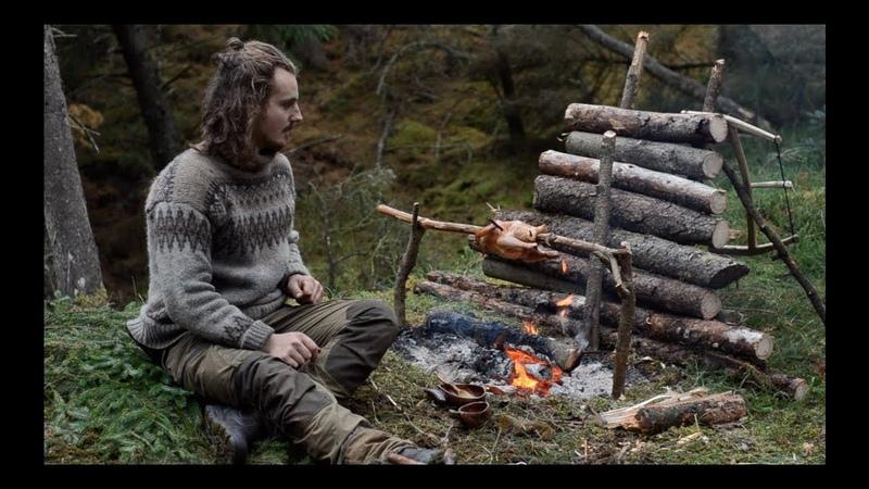 6 days solo bushcraft canvas lavvu bow drill spoon carving Finnish axe