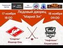 Первенство России по хоккею Спартак Йошкар Ола Нефтяник Альметьевск 1 период