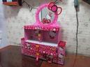 DIY-mini tocador de cartón hello kittyHello kitty cardboard organizer