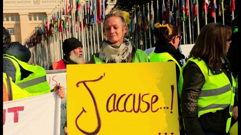 Gilets Jaunes Geneve O N U 2019 Peuple Manifestant