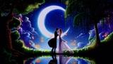 Картинка аниме. Арт, светлячки, парень, облака, деревья, девушка, одуванчики, пара.