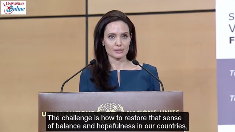 Learn English with Angelina Jolie Speech in defense of internationalism - English Subtitles