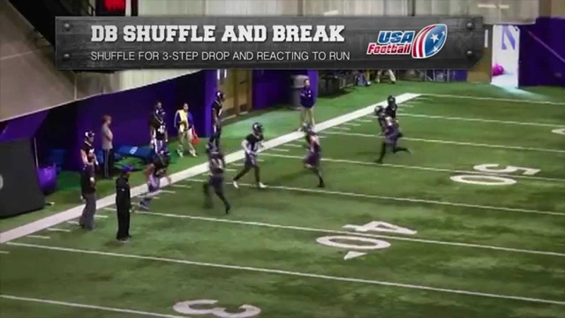 Northwestern Wildcats shuffle and break drill Defensive backs