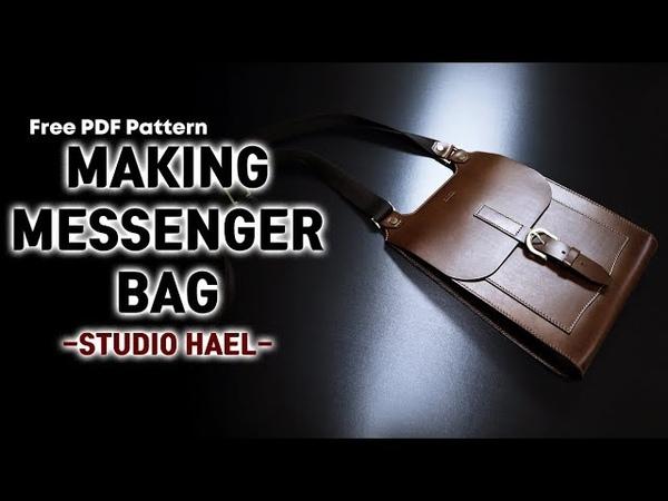 Making a messenger bag(cross body bag)Leather craft가죽공예무료패턴메신저백 만들기 크로스바디백 만들기