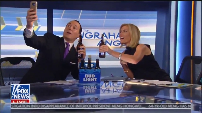 Hilarious News: Laura Ingram's guest a Fox News Contributor falls off chair while taking selfie.