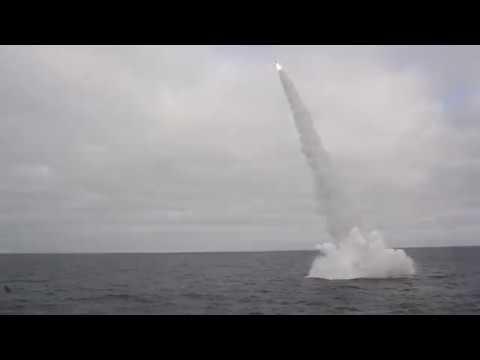 Пуски ракет-торпед ТАРКР «Петр Великий» в Баренцевом море