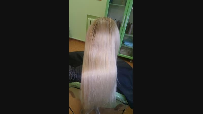 Кератиновое восстановление и выпрямление волос ( моя работа)