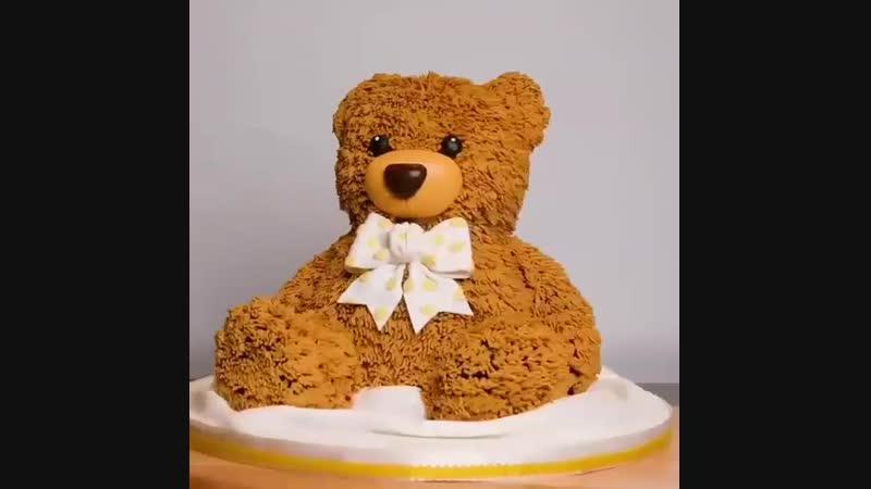 Как сделать 3D торт (скульптурный торт) Мишка