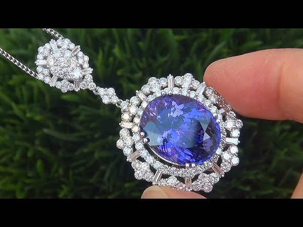 GIA Certified 27.22 ct VVS Natural Tanzanite Diamond Pendant Necklace 18k Gold - A131636