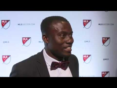Anderson Asiedu reacts to being selected by Atlanta United at the MLS SuperDraft