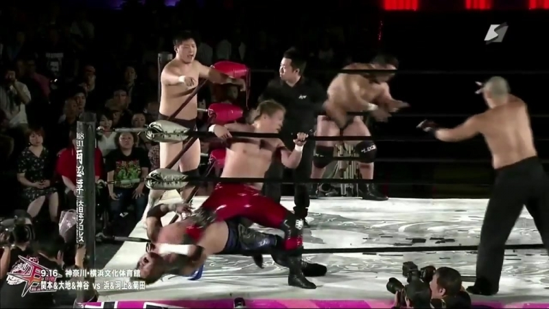 Daisuke Sekimoto Daichi Hashimoto Hideyoshi Kamitani vs Ryota Hama Ryuichi Kawakami Kazumi Kikuta BJW Death Vegas 2018