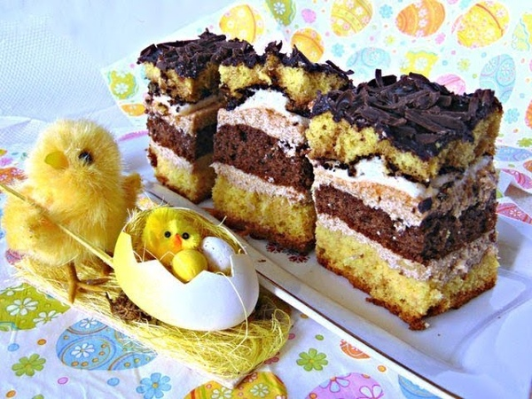 Пляцок з кавою Лілія- Украинский пляцок (торт) с кофе Лилия с кофейным шоколадным бисквитом, пудинговым кремом, шоколадной помадкой (глазурью)- Ciasto z kawa - Рецепти Лілії Цвіт