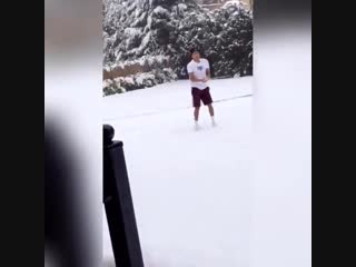 Jesse enjoying the snow in Manchester today ️