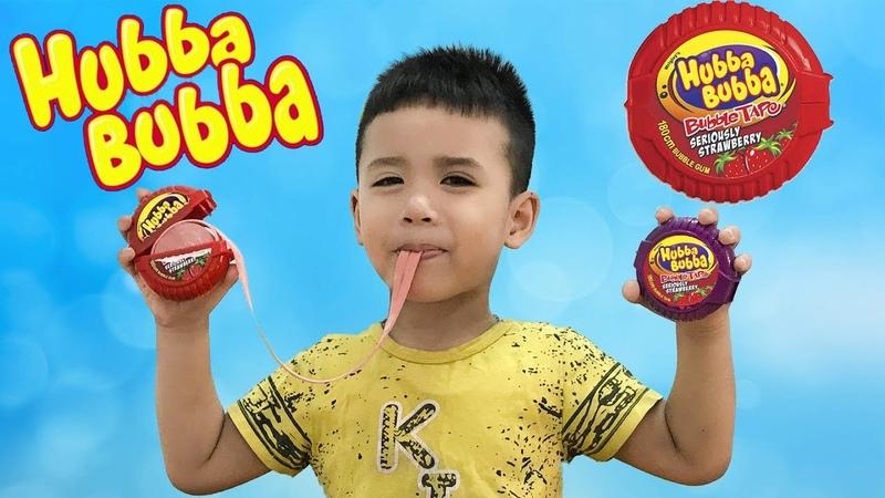 Trò Chơi Ăn Kẹo Hubba Bubba ♥ Kẹo Cuộn Tròn Siêu Dài ♥ Min Min Tv