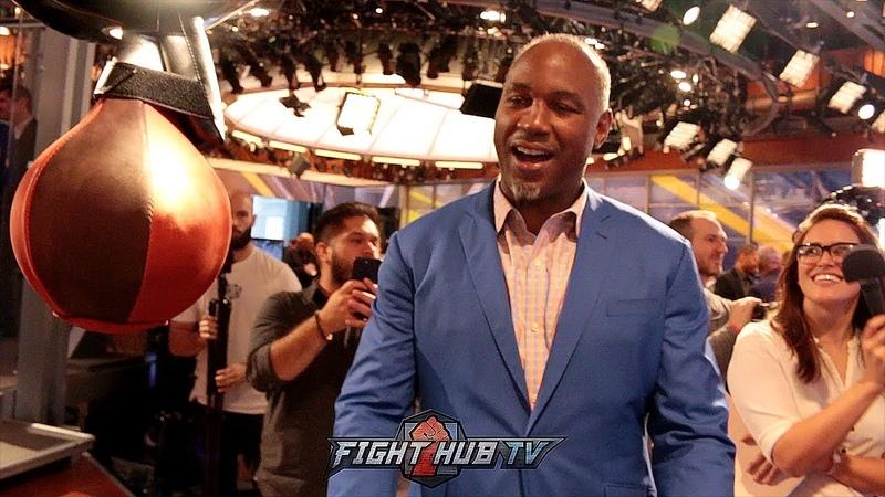 Боксёры бьют силомер после пресс-конференции с участием Микки Рурка (видео)