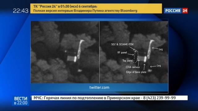 Новости на Россия 24 • Открытия зонда Филы вода кометы отличается от земной