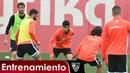 El Sevilla FC se entrena con la Lazio de fondo