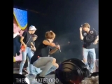 jimin amost fell, jin almost got elbowed by taehyung, taehyung fell on his ass, jin splitt