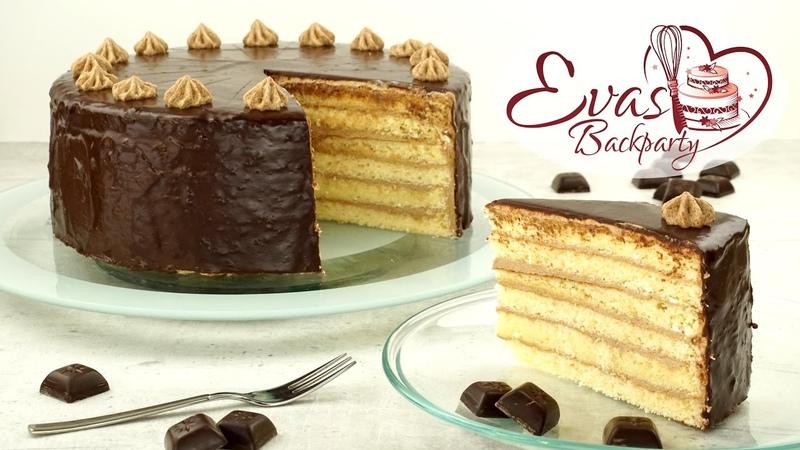 Немецкий бисквитный торт Принц- регент со сливочно- шоколадным кремом, шоколадной глазурью Prinz-Regenten-Torte Klassiker aus Bayern Backen evasbackparty