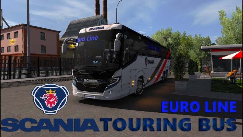 Ets2 mods Scania touring Euro line bus HD skin with Passenger Fix chassis 1.32 - YouTube