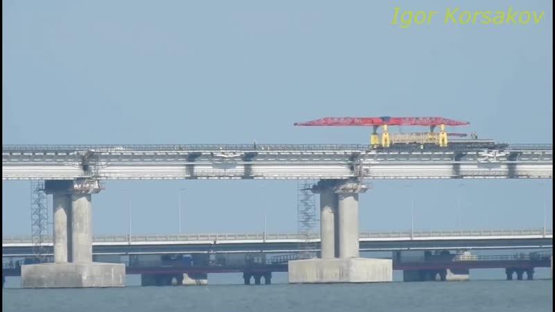 Крымский мост(23.05.2019) Укладка Ж_Д рельсов продолжаетя БАГЕРОВО темп работ на
