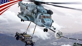 CH-53E Helicopter Refuel While Carrying A HUMVEE With Awesome Piloting Skills