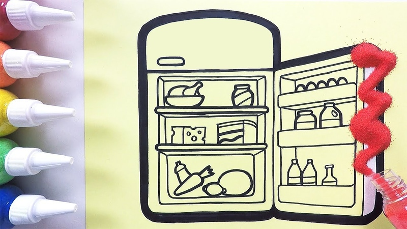 Refrigerator coloring drawing studying English for kids ㅣ 냉장고 그리기 색칠하기 영어 공부