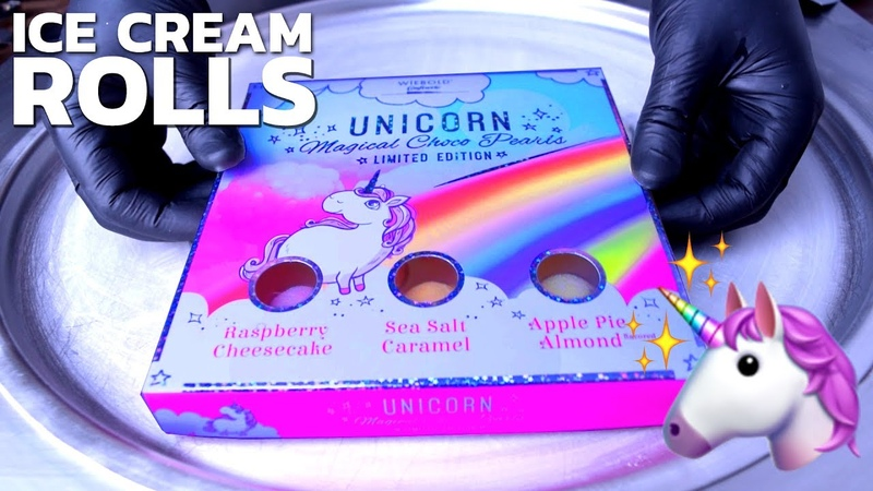 Ice Cream Rolls | How to make pink Unicorn Ice Cream with delicious sweet Unicorns color Candy 🦄