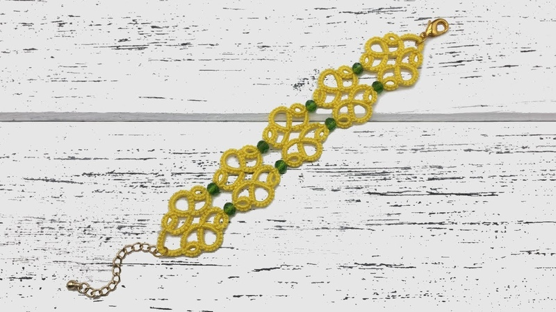 Needle tatting. Yellow bracelet with crystal beads / Фриволите иглой. Желтый браслет с бусинами